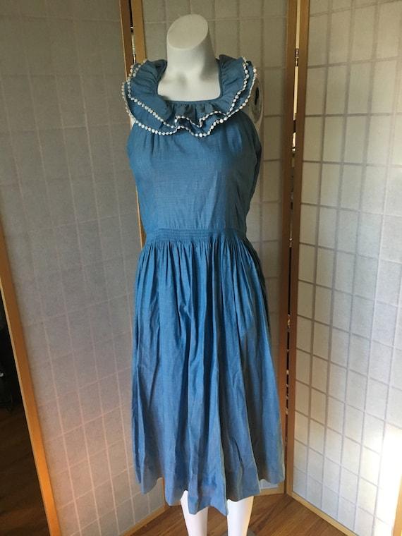 Vintage 1950's Chambray Blue Flounce Collar Halter