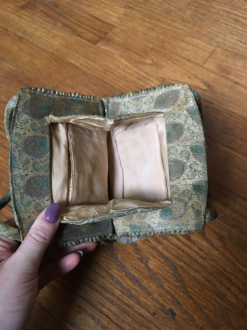 Vintage 1940/'s Gold and Blue Peacock Evening Bag