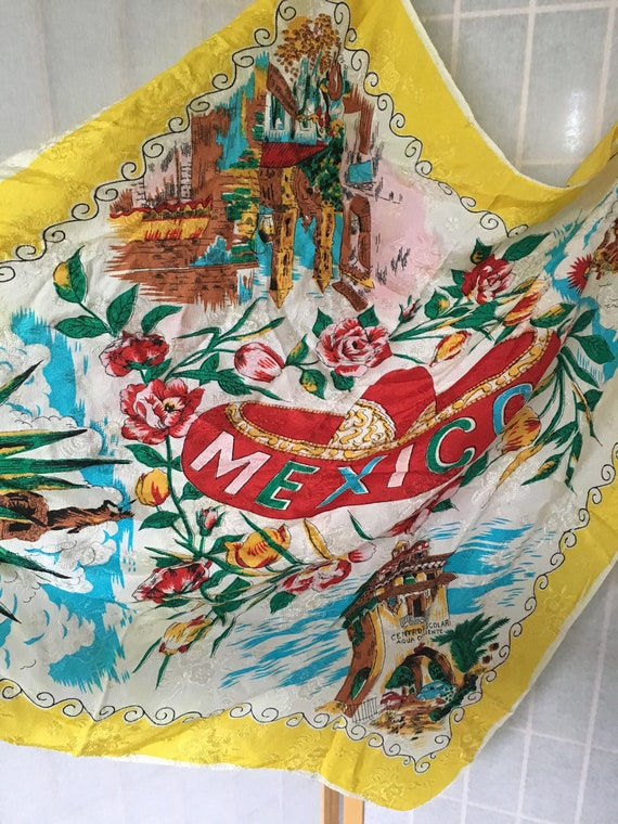 Vintage white and yellow square Mexico souvenir s… - image 2