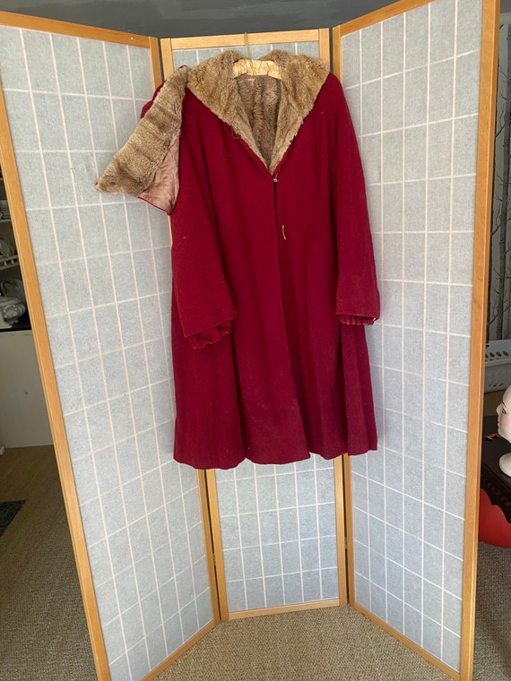 Vintage 1930's red heavy coat with real brown fur