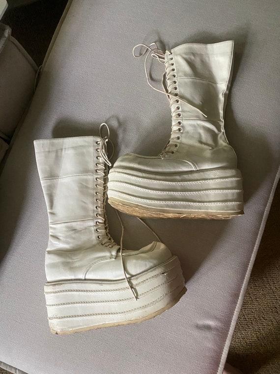 Vintage 1990'S White Platform Frankenstein Demonia