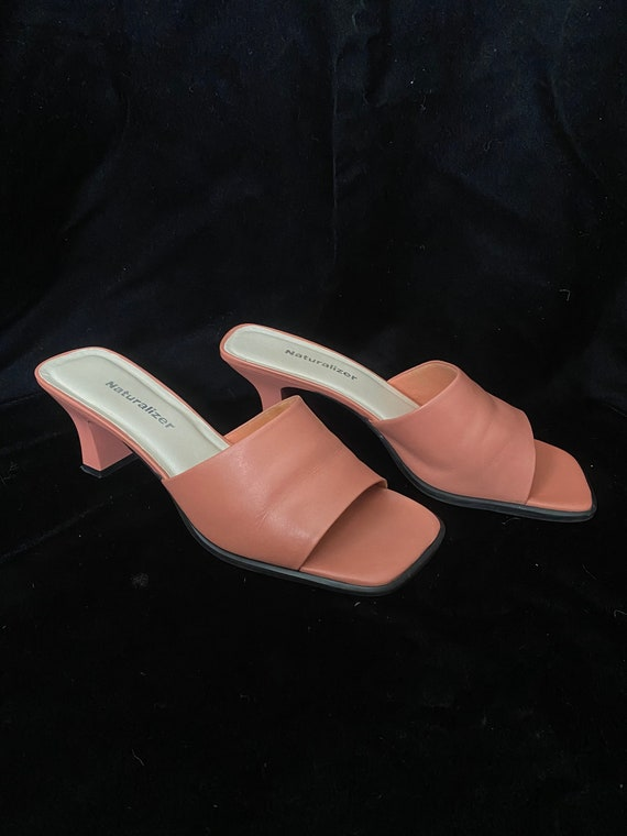 Vintage 1990's salmon pink slip on square mules he