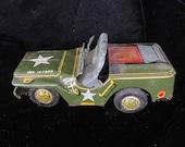 Vintage green tin army car, Linemar Japan