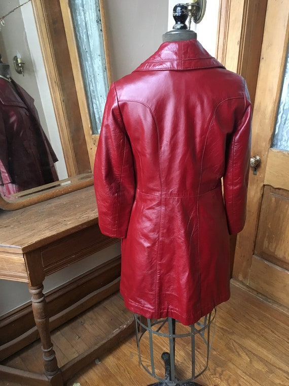 Vintage 1970's Red Leather Trench Coat - image 4
