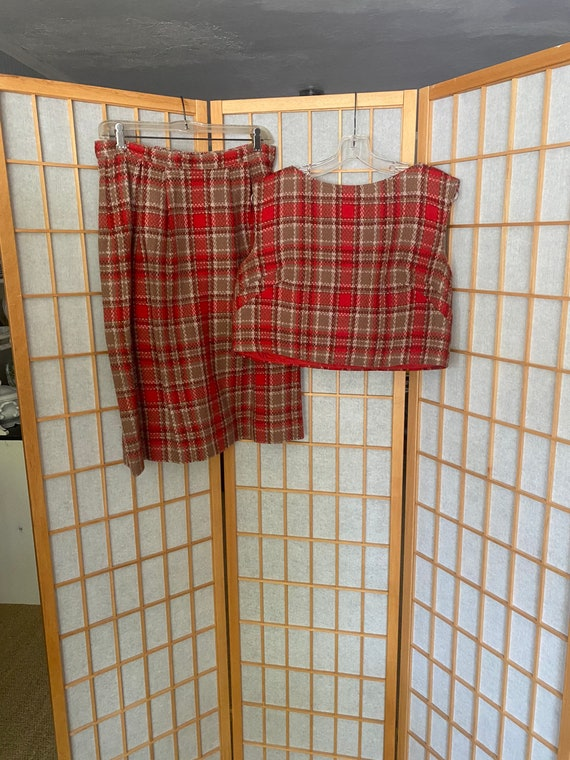 Vintage 1960's red and brown wool plaid blouse and