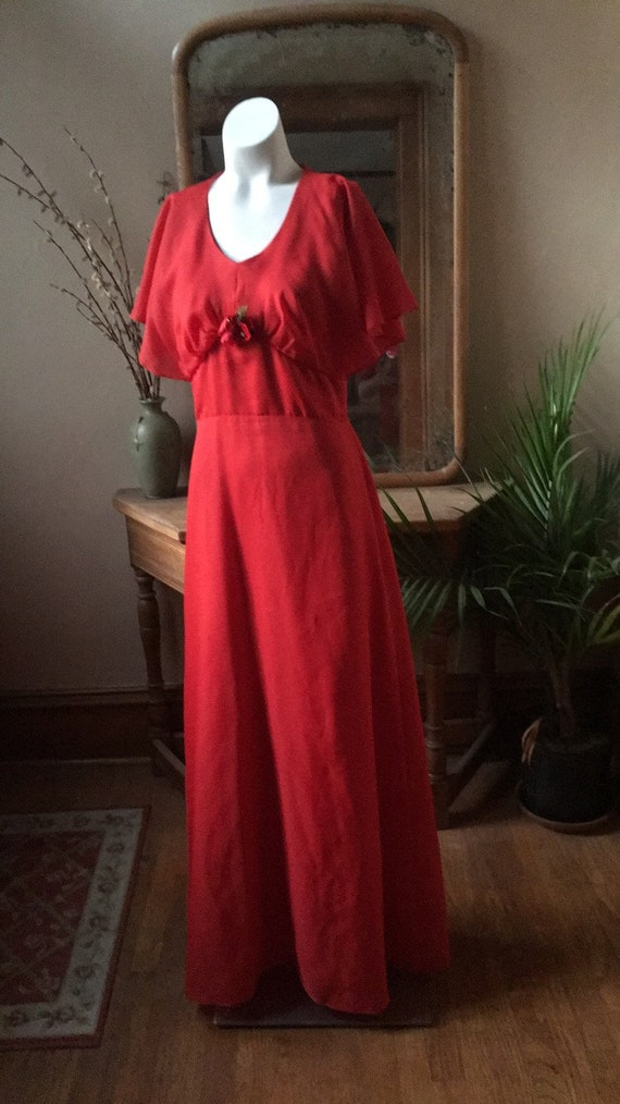 Vintage Red Flower Dress