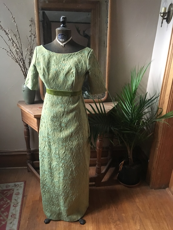 Vintage Green and Blue Brocade/Tapestry Dress