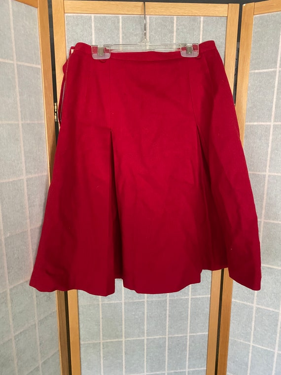 Vintage 1940's red wool pleated skirt, Banner spo… - image 5
