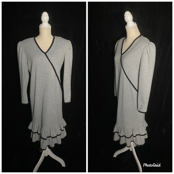 Vintage 1980's gray and black shift dress, size l… - image 1
