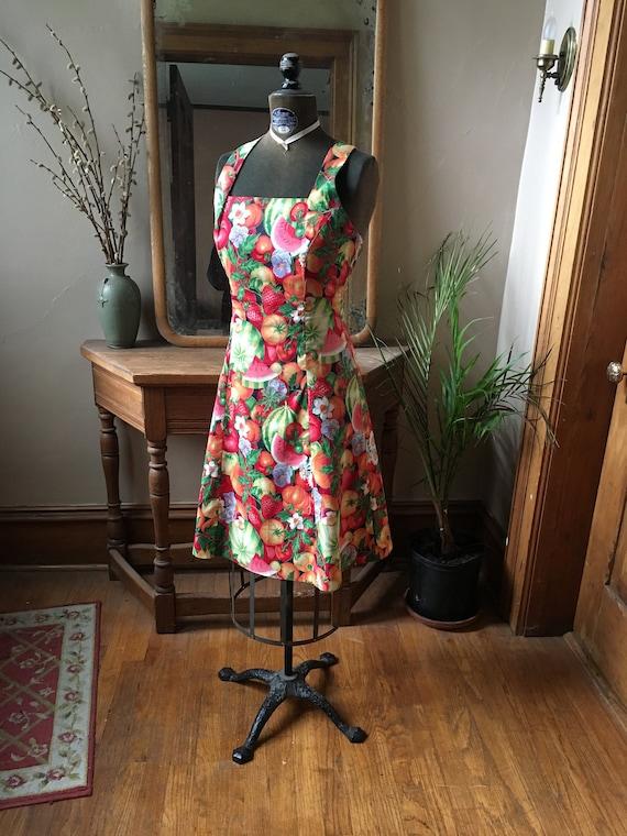 Vintage Fruit and Vegetable Print Cross-back Dress