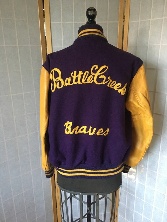 Vintage 1960/'s Purple and Yellow Leather and Wool Letterman Jacket Battle Creek Braves
