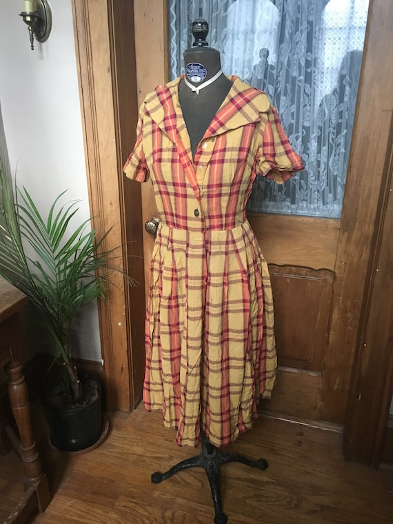 Vintage Gold and Pink Plaid Day Dress