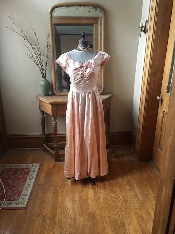 Vintage 1940's Light Pink Liquid Satin Gown, Dress