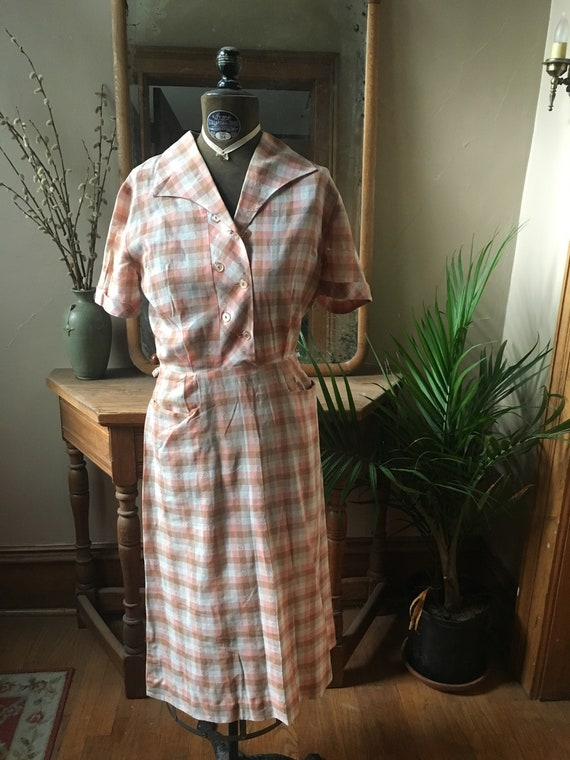 Vintage Peach Gingham Dress