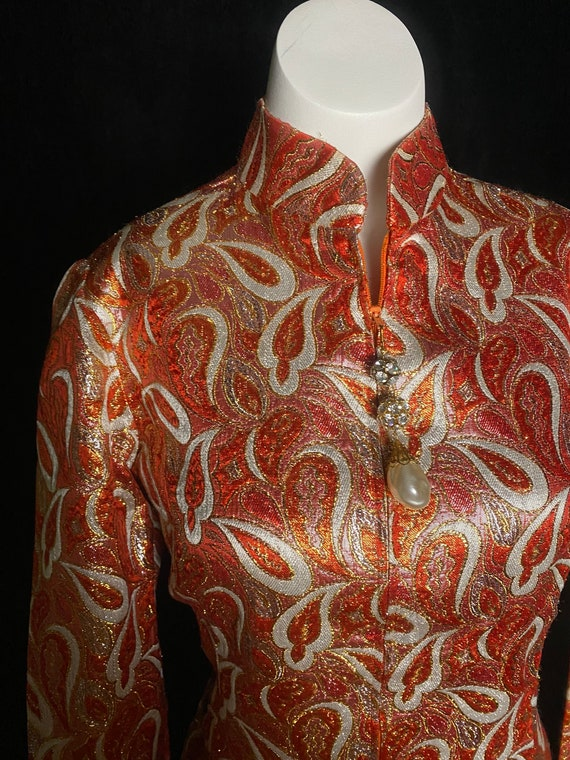 Vintage 1960's orange and gold metallic brocade C… - image 3