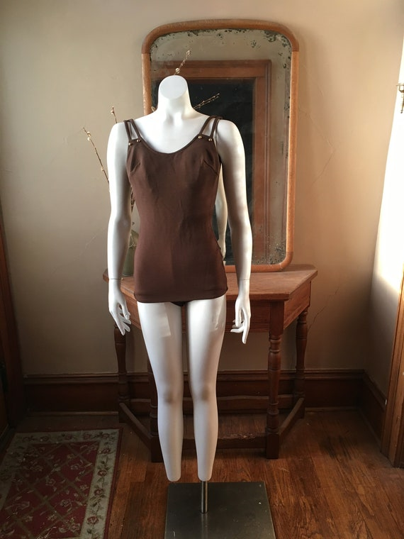 Vintage 1960's Brown and Gold One-Piece Swimsuit,
