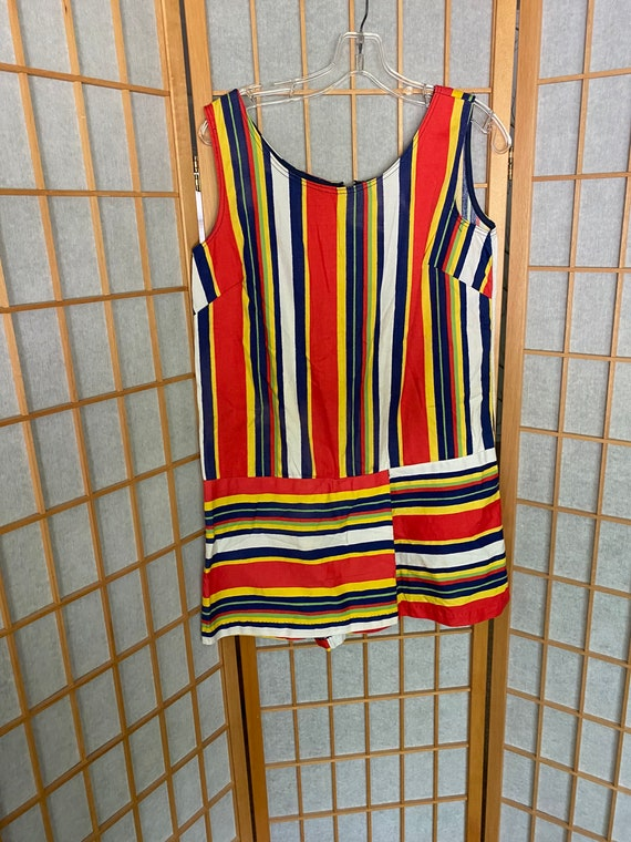 Vintage 1960's striped dress, play suit romper