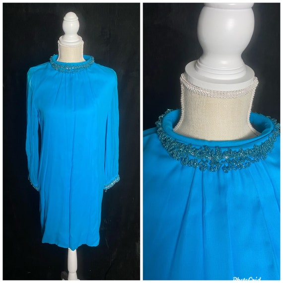 Beaded Collar New Old Stock 1960/'s Blue Cocktail Dress
