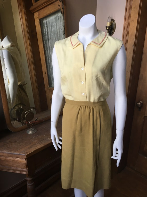 Vintage 1940's Two Piece Yellow Top, Shirt, Blouse