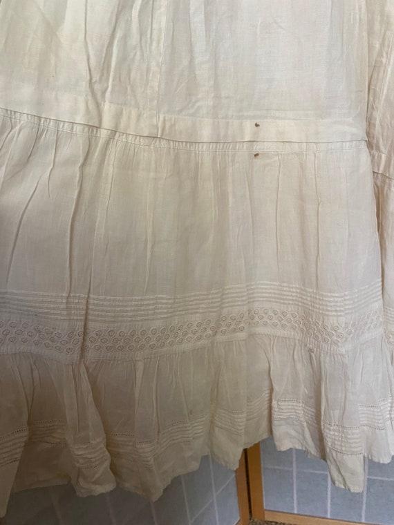 Vintage antique white cotton petticoat dress, 190… - image 9