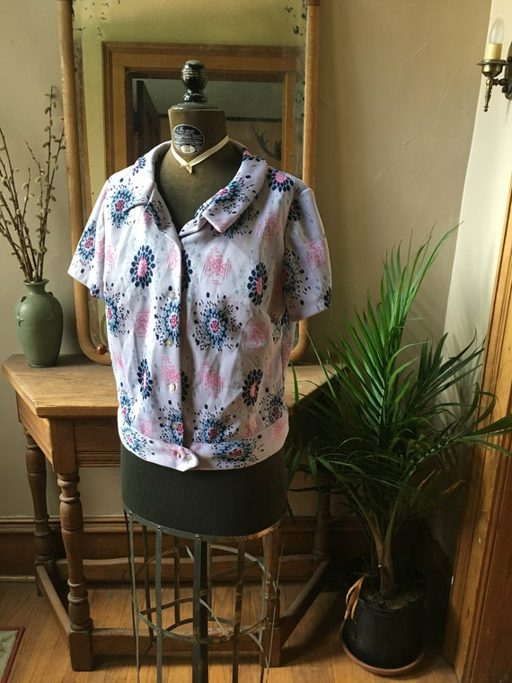 Vintage Purple Floral Polyester 1970's Top