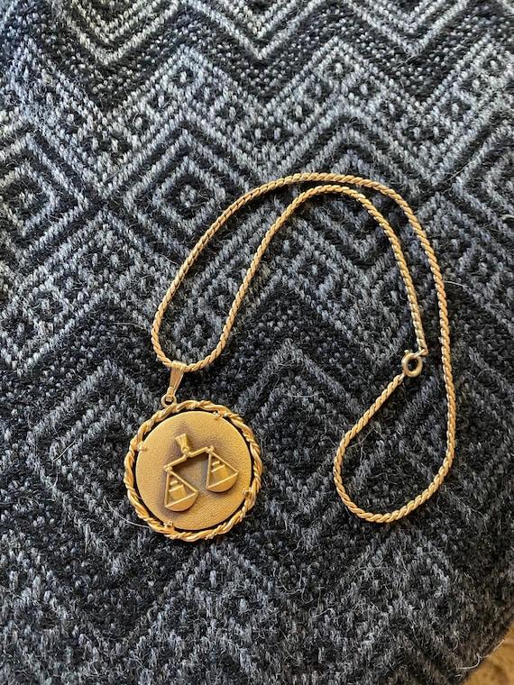 Vintage gold pendant necklace, Libra zodiac