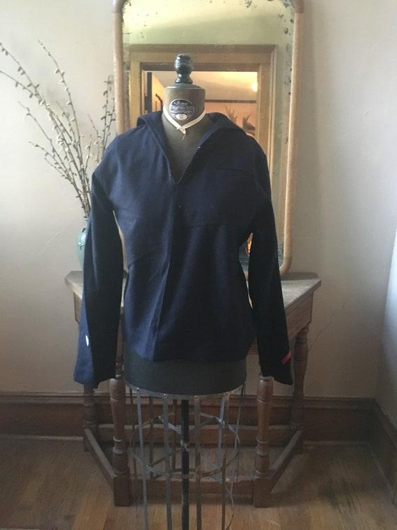 Vintage Navy Blue Wool Navy, Military Shirt