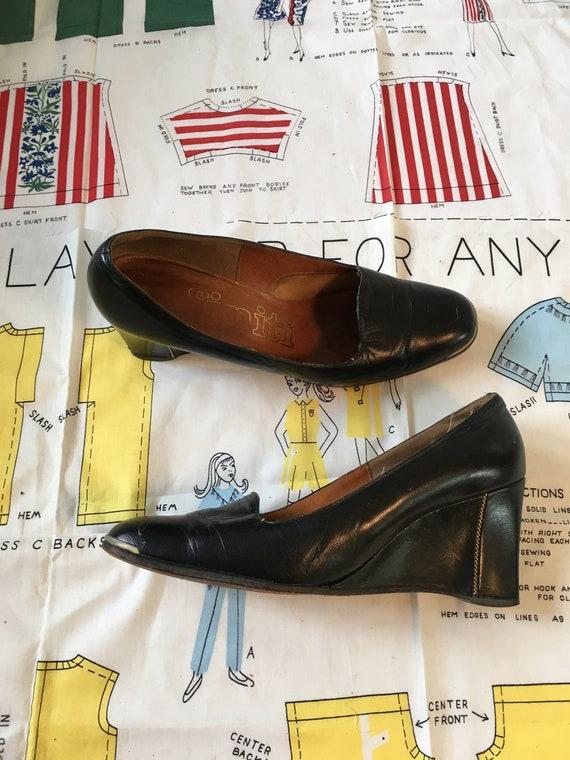 Vintage 1960's 1970's Dark Brown High Heel Wedges