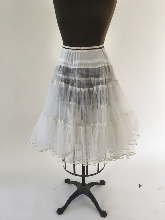Vintage 1960's White Sheer Puffy Petticoat Crinoli