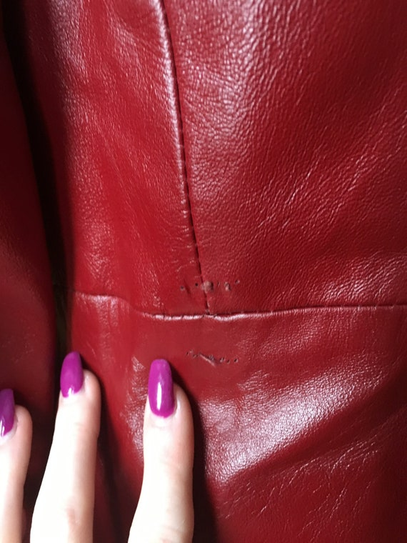 Vintage 1970's Red Leather Trench Coat - image 5