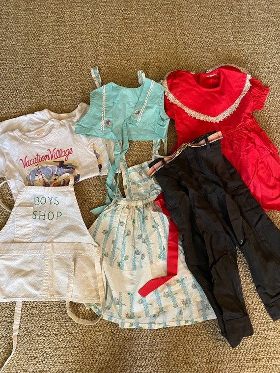 Lot of 1950's vintage baby clothes, dresses, okabo