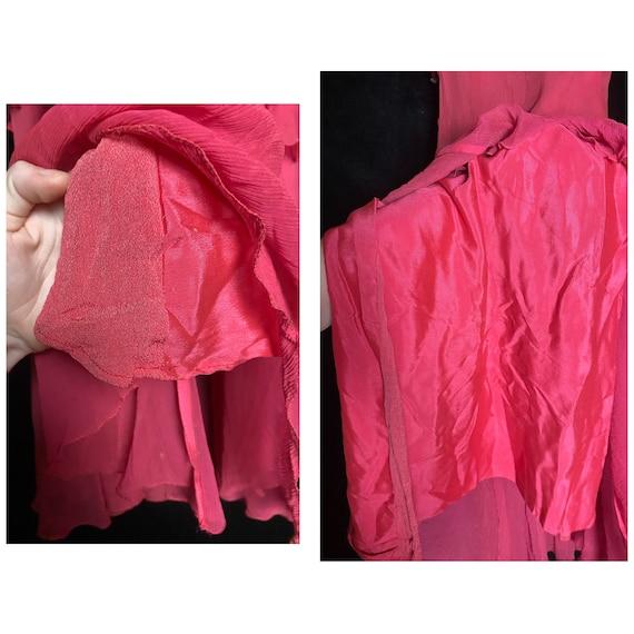 Vintage 1930's hot pink silk sheer chiffon dress … - image 9