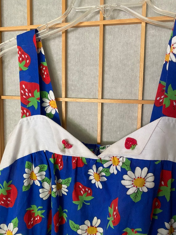 Vintage 1980's blue sun dress with strawberries - image 2
