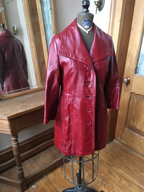 Vintage 1970's Red Leather Trench Coat - image 2