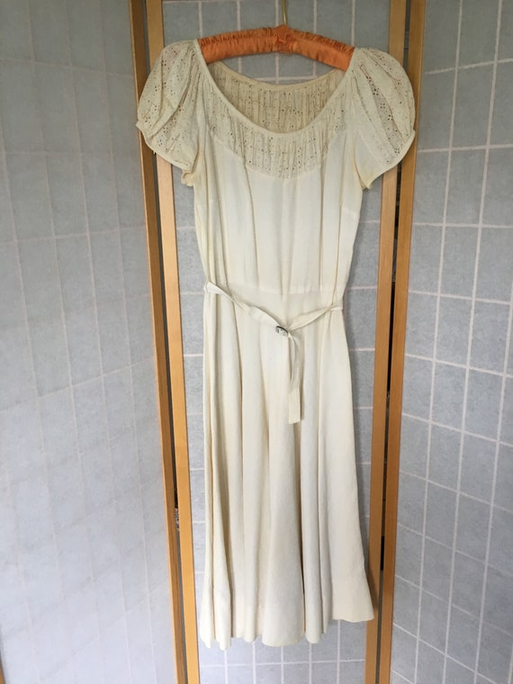 Vintage 1930's White Cream Dress with Eyelets and