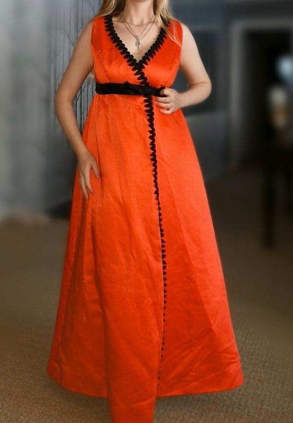 Size XS Vintage 1960/'s Orange And Black Heavy Satin Maxi Dress