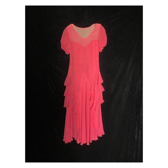 Vintage 1930's hot pink silk sheer chiffon dress … - image 1