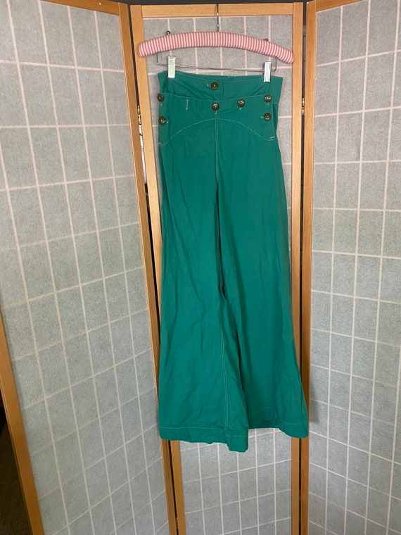 Vintage 1930's Green Wide Leg Beach Pants
