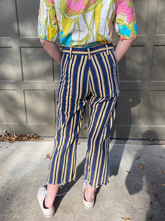 Vintage 1970's yellow and blue striped denim pants
