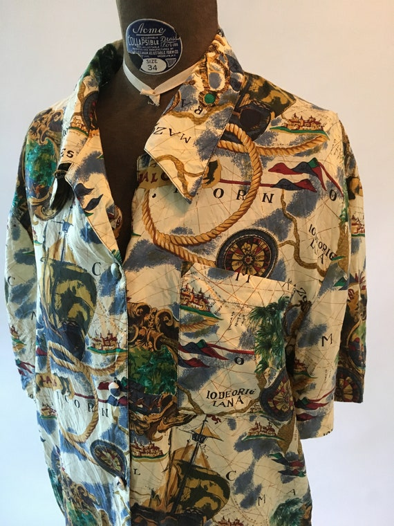 Vintage 1990's Short Sleeve Tropical Map Button Up