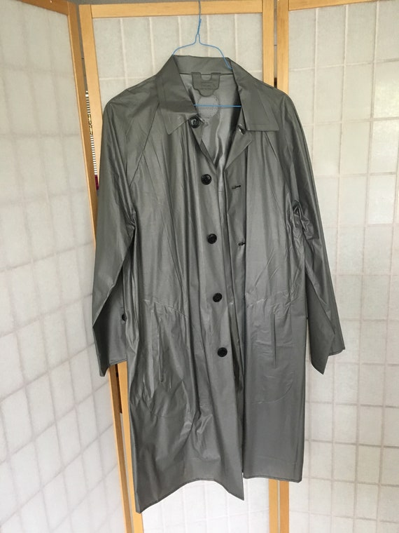 Vintage Dark Gray Rain Coat Trench Coat Rain Wear