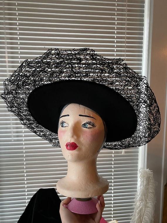 Vintage 1920, 1930's Black Dramatic Lace Sun Hat M
