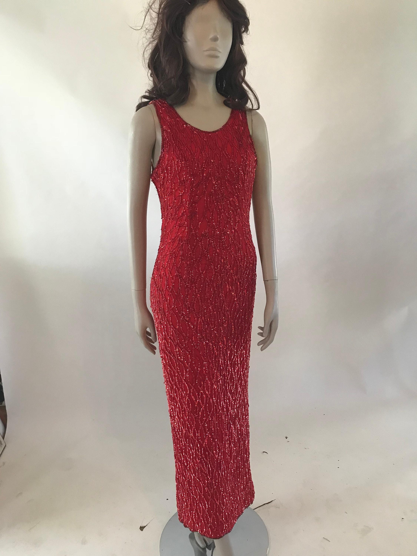 80s Dresses   Casual to Party Dresses Vintage 1980S Full Length Red Silk Sequin Dress $0.00 AT vintagedancer.com