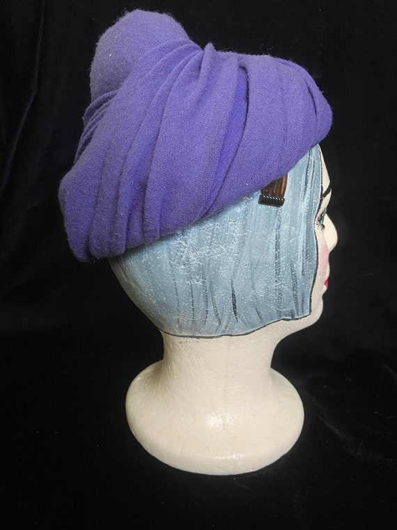Vintage 1940's purple wrap hat, wool with combs f… - image 3