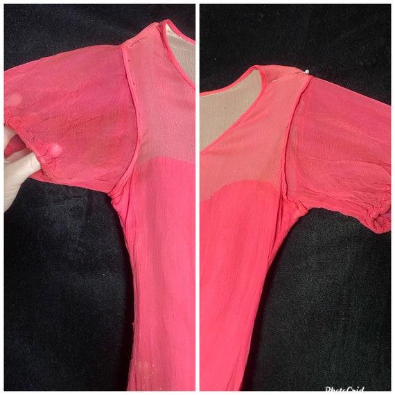 Vintage 1930's hot pink silk sheer chiffon dress … - image 4