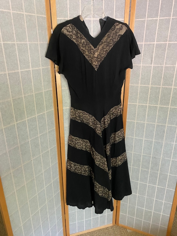 Vintage 1930's 1940's Black and Beige Lace and Cre