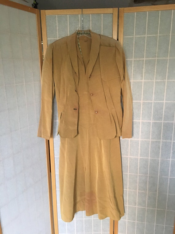 Vintage 1940's Golden Yellow Dress and Matching Bl