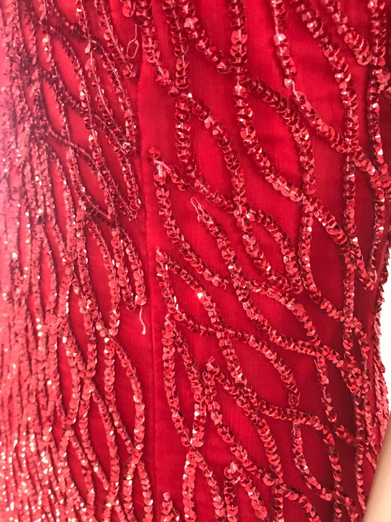 Vintage 1980s Full length red silk sequin dress - image 7