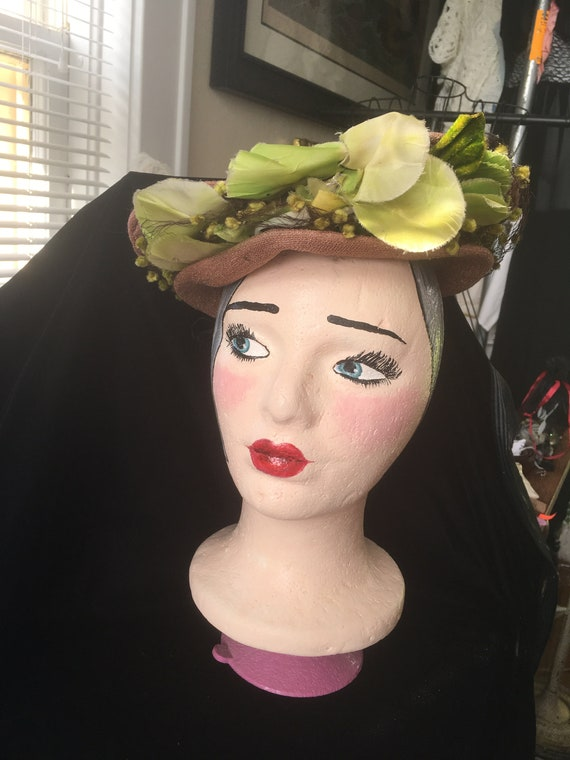 Vintage 1940's Taupe Crown Hat with Green Flowers