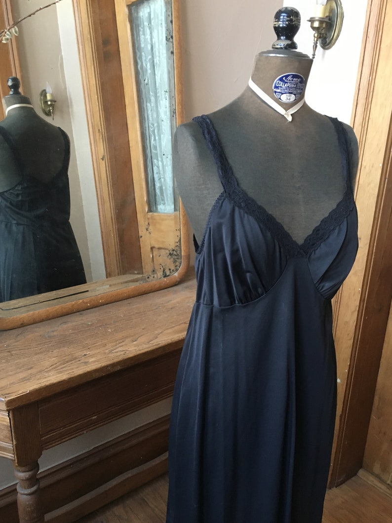large Size medium Vintage Black Nylon Long Slip Dress
